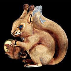 Jewellery Theatre Squirrel sculpture with diamonds and tsavorite