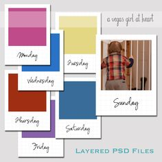 A Vegas Girl at Heart: Freebie Friday: Days of the Week Photo Journal Cards