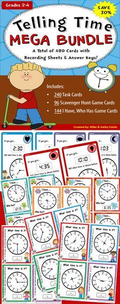 Telling Time MEGA BUNDLE {Task Cards, Scavenger Hunt & I Have,Who Has Games} $