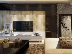 Resultado de imagen de modern living room  with wall paper