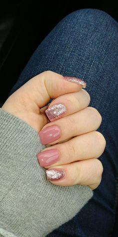 Acrylic nails pink sparkle  #short #acrylicnails #GlitterNails