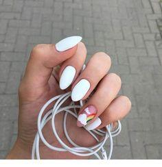 White nails and rainbow Nails Summer Acrylic Nails, Best Acrylic Nails, Acrylic Nail Designs, Pastel Nails, Aycrlic Nails, Nail Manicure, Swag Nails, Stylish Nails, Trendy Nails