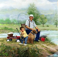 Fishing with grandpa always needs the radio flyer to succeed - Donald Zolan