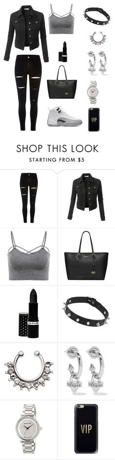 """""""All Black err thang!!"""" by patshawnj on Polyvore featuring River Island, LE3NO, MICHAEL Michael Kors, Hard Candy, Eddie Borgo and Casetify"""