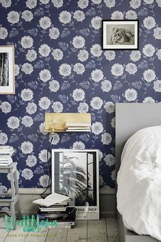 Transform any room in your home into a floral paradise with this adhesive wallpaper! This vinyl wallpaper features a soft pastel print of garden rose flower wall decals. White garden rose flowers all over a dark blue background. One look at this adhesive wallpaper and you will think you are in floral paradise!  ➢ SIZE You have the option of two sizes for your personal floral room décor: Small: 20.9 inches wide by 48 inches tall Large: 20.9 inches wide by 96 inches tall ➢ CUSTOM SIZE We can…
