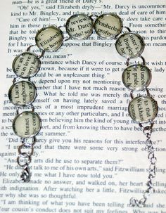 Pride and Prejudice Recycled Book Bracelet - Literary Jewelry, Jane Austen $24