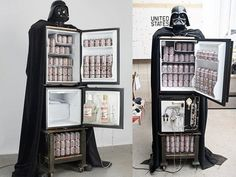 "Keep the force of beer ice cold with a RefrigerVader. | 25 Ways To Make Your Home A ""Star Wars"" Heaven"