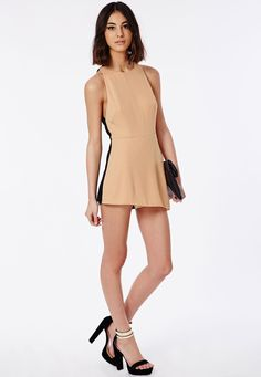Contrast Back Skort Playsuit Camel - Playsuits - Missguided