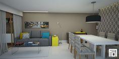 Sala de 20m² de um jovem casal  Nesse projeto optamos por destacar alguns elementos com cores fortes mantendo a base com cores neutras, além de uma parede revestida com um lindo papel de parede da Orlean. O resultado foi uma sala descolada e cheia de personalidade!  Projeto: Alessandra Onofri