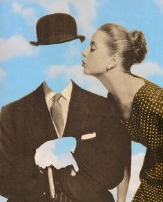 Kissing Magritte by collage artist Joe Webb