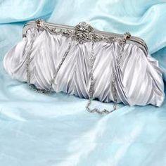 silver satin bridal wedding prom party clutch handbag