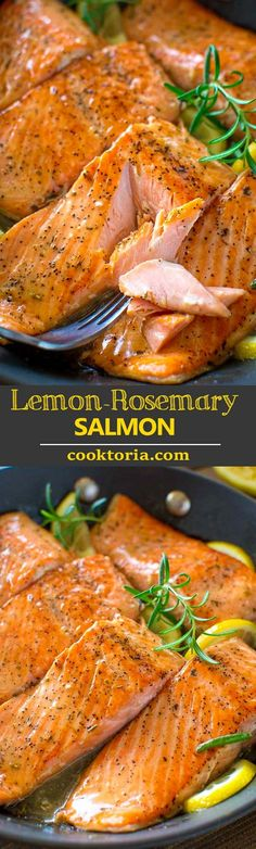 Flaky salmon cooked to perfection in rich and lip-smacking-good Lemon Rosemary sauce. Ready in 20 minutes! #salmon #salmondinner #salmonrecipe