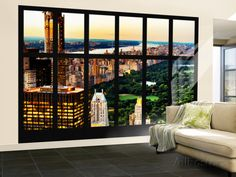 Wall Mural - Window View - Center Park at Sunset - Manhattan - New York Wall Mural – Large by Philippe Hugonnard - AllPosters.ca