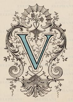 Victorian V-Art Print   Vintage Typography Art Prints