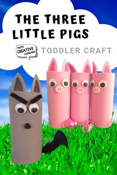 Storytime crafts for kids, the three little pigs and the big bad wolf - great for creative play and arts and crafts ideas