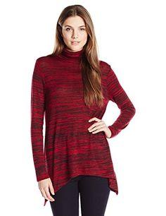 3703a2385b Kensie Women s Drapey Space Dye Longsleeve Turtleneck Top at Amazon Women s  Clothing store