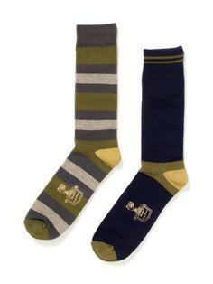 Florsheim by Duckie Brown Block Stripe and Solid Socks (2 Pack)