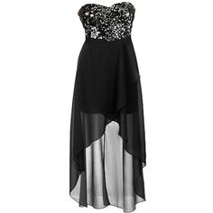 Star Gazer Dress ($100) ❤ liked on Polyvore featuring dresses, vestidos, black dresses, black sequin dress, hi lo dresses, hi low dress, high low dresses and black sparkly dress