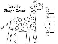 Animal Shape Count (giraffe, elephant, ostrich, hippo, peacock)