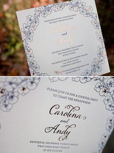 From Bella Figura: Beautiful blue and copper romantic floral letterpress and foil invitations.