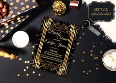 Items similar to Black and Gold Gatsby Bridal Shower Invitation Template Editable Printable Bridal Shower Gold Art Deco Design Bridal Shower Cards, Bridal Shower Invitations, Photoshop Program, Text Tool, All Design, Invitation Design, Party Planning, Personalized Items, Gatsby