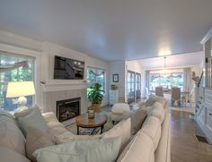 Shingle Cape Cod Home: Family Room - The rooms in this house are not wide but the furniture is all placed accordingly.