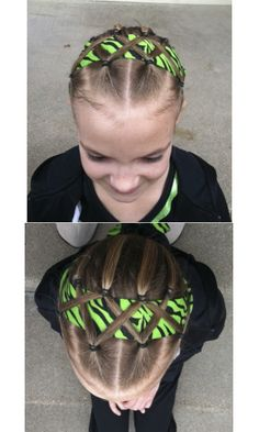 Lec's hair for gym meet today.  Thanks www.princesshairstyles.com