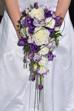 Rustic Inspired Artificial Purple Lisianthus Cascade Bridal Bouquet w/ Ivory Roses
