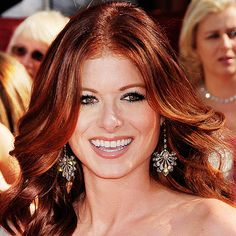 Medium copper brown hair color with apricot highlights