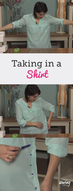 While this tip is great for taking in a shirt that's too big it's also a great sewing shortcut for other garments as well. For example, this same technique could be used on a dress to either take it in if it's too big or turn a boxy dress into one that's more form fitting.