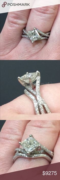Exquisite Simon G Designer wedding ring set size 5 A wedding engagement set this quality is uncommon so dazzle your love at bargain price! Jewelry appraisal included and is valued at $15,280.  1.03ct H color/VS1 clarity princess cut diamond set in a platinum Simon G designer wedding set containing 78 round brilliant diamonds weighing .23ctw. Size 5.  Worn in an office for 1 yr. Never slept in, cleaned in or any other rough or dirty environments.  condition: like new make / manufacturer…