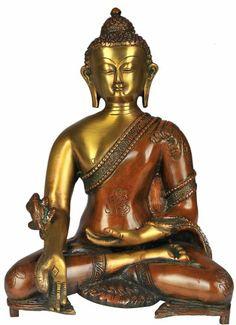 Medicine Buddha Brass Statue @ KnowFengShui.com