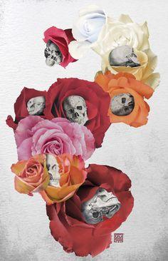 skull&roses #skull #roses #illustration #collage by Gustavo Solana #tshirt #vintage #retro #death