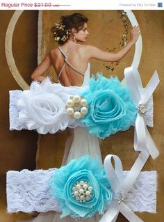 ON SALE Baby Blue Wedding Garter, White Lace Wedding Garter, Something Blue Garter, Bridal Garter Set