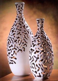 Vase - Vaso traforato bianco, Ceramiche Maroso