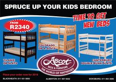 YOUR CHILD DESERVES THE BEST START TO 2019. We offer the widest range of kid's beds and mattresses for the best start to every morning so they can focus on what's important. MAKING YOU PROUD. Visit one of our stores today for advice and to view our available products. Get in touch with us today,. ALBERTON: Alberton Lifestyle Centre St Austell Street 011 907 6022 BOKSBURG: 122 North Rand Road (next to Tile Africa) 011 894 3086 BLACKHEATH : Shop 2, Steve's Spar Centre, Beyers Naude Drive,