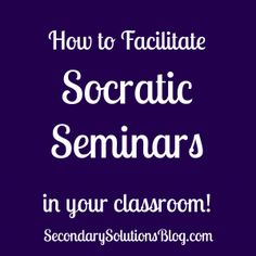 Socratic Seminar in the Classroom - I like this.   Hmmm, could combine ideas here with Book in an Hour for a different approach too.