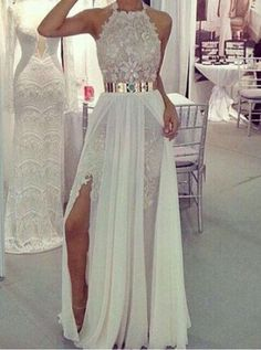 Halter Prom Dress,Lace Prom Dress,A-Line Prom Dress,Long Prom Dress,Elegant Prom Dress,Split Prom Dresses