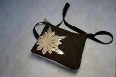 """Купить Кожаная сумочка с цветком """"Шоколад"""" модель2 - кожаная женская сумка, сумочка мини"""
