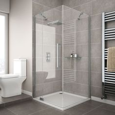 Apollo Frameless Hinged Door Square Enclosure - L/H Opening Large Image Diy Bathroom Decor, Bathroom Interior, Modern Bathroom, Garage Bathroom, Bathrooms, Bathroom Plumbing, Small Bathroom Ideas On A Budget, Small Bathroom Colors, Budget Bathroom