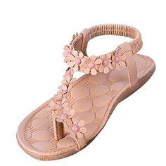 Oferta: 1.9€. Comprar Ofertas de Minetom Mujer Verano Sandalias Dulce Estilo Floral Abalorios Sandalias De Playa Clip Toe Zapatos Albaricoque 36 barato. ¡Mira las ofertas!