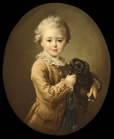 Francois Hubert Drouais Boy with a Black Spaniel, Oil on canvas; x cm x 21 in). The Metropolitan Museum of Art. Source: The Metropolitan Museum of Art Old Paintings, Beautiful Paintings, Photographing Boys, Jean Antoine Watteau, Fine Art Prints, Canvas Prints, Miniature Portraits, Renaissance, Dog Cat