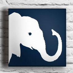 Baby Elephant Custom Silhouette Painting by waddlingduck on Etsy
