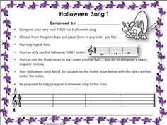 FOUR Halloween themed composition activities. Students write their own songs by following the steps provided. The songs can then be performed!