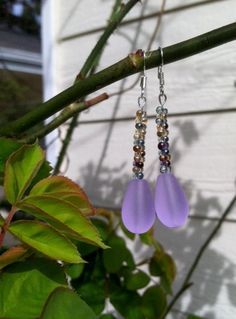 Purple Sea Glass Earrings by SmithNJewels on Etsy