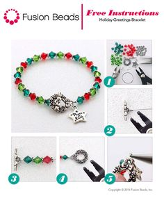 May your days be merry and bright ❤️❤️ Create your own festive DIY Holiday Greetings bracelet using stunning Swarovski crystals and @tierracast  charms this season!