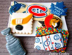 NHL Hockey Playoff Cookies...(that Leaf cookie got eaten up pretty quickly)
