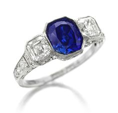 FD GALLERY | Rare & Vintage | An Art Deco Kashmir Sapphire Ring, of 1.72 carats, by Tiffany & Co.