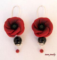 Red poppy  Red earrings  Flowers  Jade jewelry  by insoujewelry