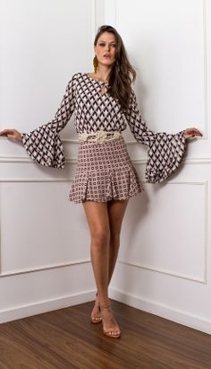 a9858b2c30d25 SAIA BABADO BARRA - SA27475-R6   Skazi, Moda feminina, roupa casual,  vestidos…